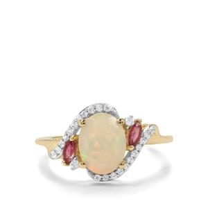 Ethiopian Opal, Oyo Pink Tourmaline & White Zircon 9K Gold Ring ATGW 1.41cts
