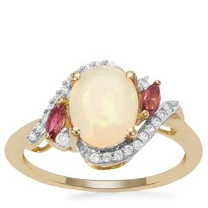 Ethiopian Opal, Oyo Pink Tourmaline Ring with White Zircon in 9K Gold 1.41cts