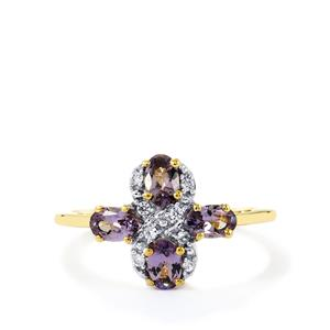 Mahenge Purple Spinel Ring with Zircon in 9K Gold 1.14cts