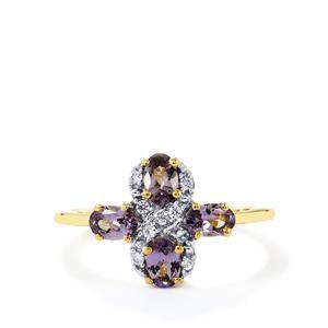 Mahenge Purple Spinel & White Zircon 10K Gold Ring ATGW 1.14cts