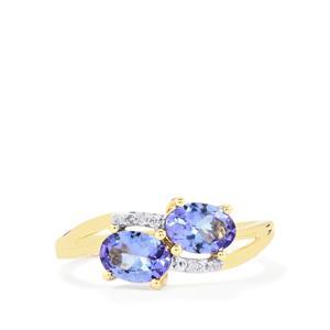 AA Tanzanite & Diamond 10K Gold Ring ATGW 1.23cts