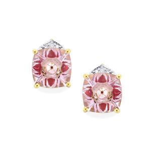 Lehrer KaleidosCut Rose De France Amethyst, Thai Ruby Earrings with Diamond in 10K Gold 3.77cts (F)