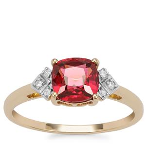 Malawi Garnet Ring with Diamond in 9K Gold 1.63cts
