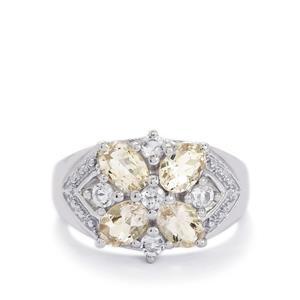 Zambezia Morganite & White Topaz Sterling Silver Ring ATGW 1.98cts