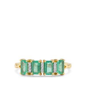 Ethiopian Emerald & Diamond 9K Gold Tomas Rae Ring ATGW 1.03cts