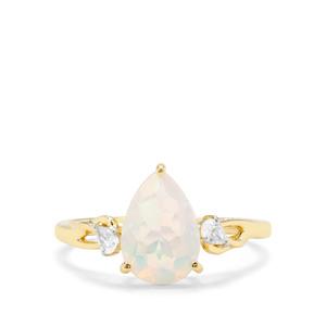 Ethiopian Opal & White Zircon 9K Gold Ring ATGW 1.33cts