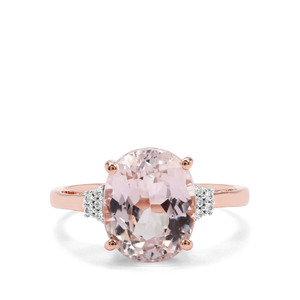 Nuristan Kunzite & White Zircon 9K Rose Gold Ring ATGW 5cts