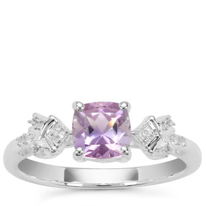 Rose du Maroc Amethyst Ring with White Zircon in Sterling Silver 0.97cts