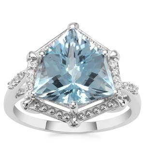 Alpine Cut Sky Blue Topaz Ring with White Zircon in 9K White Gold 5.86cts