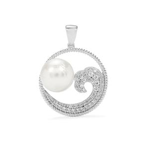 South Sea Cultured Pearl Pendant with White Zircon in Sterling Silver (13 X 12mm)