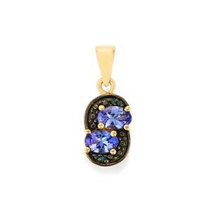 AA Tanzanite Pendant with Blue Diamond in 9K Gold 0.91ct