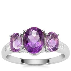 Moroccan Amethyst Ring with White Zircon in Sterling Silver 2.28cts