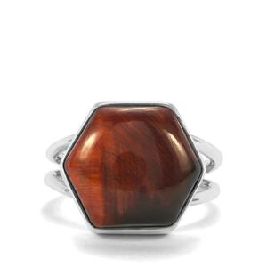 Red Tiger's Eye Ring in Sterling Silver 12cts
