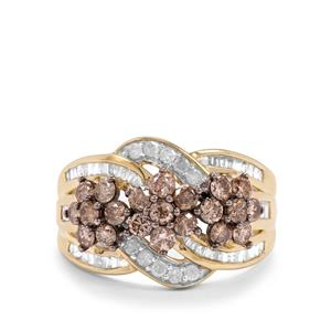 1.45ct Champagne & White Diamond 10K Gold Tomas Rae Ring