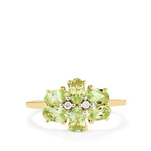 Ultraviolet Colour Change Garnet & Diamond 9K Gold Ring ATGW 1.40cts