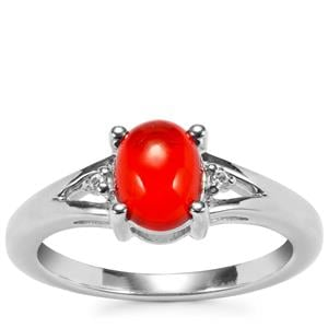 Ethiopian Red Opal Ring with White Zircon in Sterling Silver 0.77cts