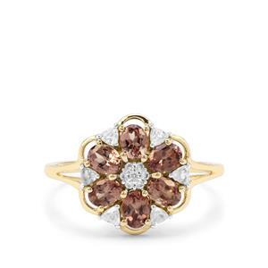 Bekily Colour Change Garnet & White Zircon 9K Gold Ring ATGW 1.58cts