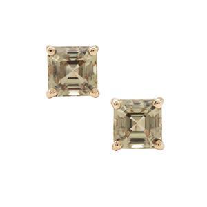 Asscher Cut Csarite® Earrings in 9K Gold 2cts