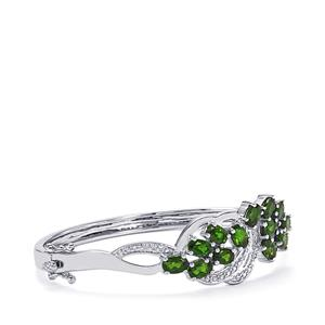 Chrome Diopside Oval Bangle with Diamond in Sterling Silver 6.11cts