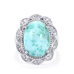 Larimar & White Topaz Sterling Silver Ring ATGW 13.33cts