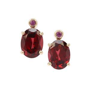 Umba River Garnet Earrings with Rajasthan Garnet in 9K Gold 3.15cts