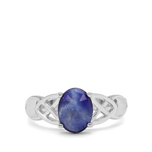 1.92ct Rose Cut Blue Sapphire Sterling Silver Ring (F)