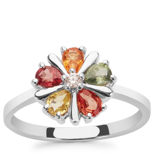 Multi-Colour Sapphire & White Zircon Sterling Silver Ring ATGW 1.05cts
