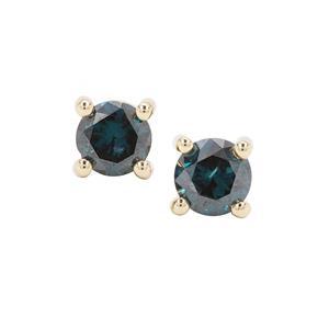 1ct Blue Diamond 9K Gold Earrings