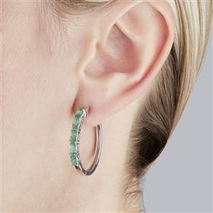 Zambian Emerald Earrings in Sterling Silver 2.05cts