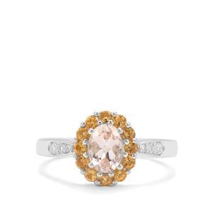 Champagne Danburite, Diamantina Citrine & White Zircon Sterling Silver Ring ATGW 1.18cts