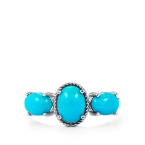 Sleeping Beauty Turquoise Ring in Sterling Silver 2.65cts