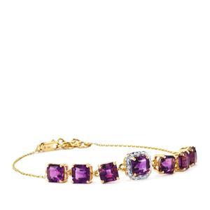 Moroccan Amethyst & Diamond 14K Gold Asscher Cut Bracelet ATGW 7.16cts