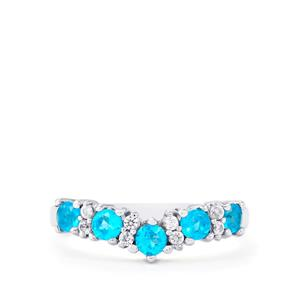 Neon Apatite Ring with White Topaz in Sterling Silver 0.77ct