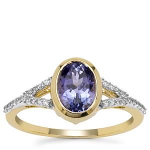 AA Tanzanite Ring with White Zircon in 9K Gold 1.55cts