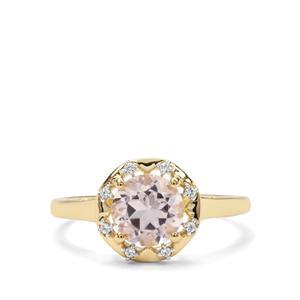 Alto Ligonha Morganite & White Zircon 9K Gold Ring ATGW 1.24cts