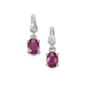 Comeria Garnet Earrings with White Topaz in Sterling Silver 1.07cts