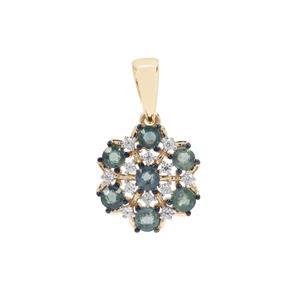 Nigerian Blue Sapphire & White Zircon 9K Gold Pendant ATGW 1.09cts