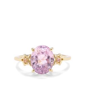 Natural Nuristan Kunzite & Pink Tourmaline 9K Gold Ring ATGW 3.60cts