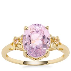 Natural Nuristan Kunzite Ring with Pink Tourmaline in 9K Gold 3.60cts