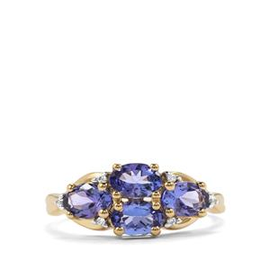 AA Tanzanite Ring with White Zircon in 10k Gold 1.97cts