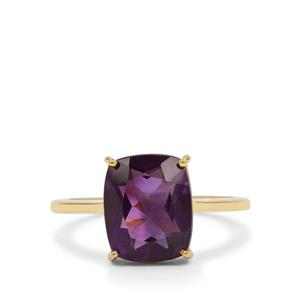 Zambian Amethyst Ring  in Gold Plated Sterling Silver 3.70cts