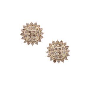 1.50ct Champagne Argyle Diamond 9K Gold Earrings