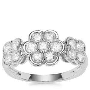 Diamond Floral Ring in Platinum 950 1ct