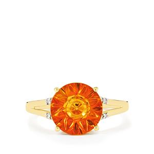 Lehrer QuasarCut Madeira Citrine Ring with Diamond in 10K Gold 2.83cts