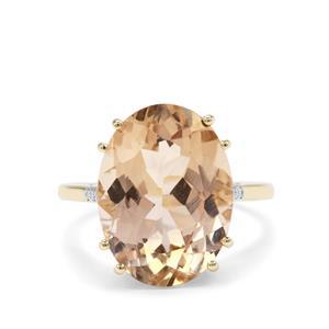 Champagne Danburite & Diamond 9K Gold Ring ATGW 9.20cts
