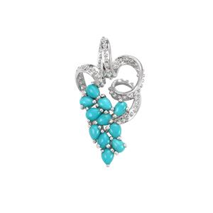 Sleeping Beauty Turquoise Pendant in Sterling Silver 1.38cts