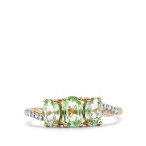 Paraiba Tourmaline Ring with Diamond in 10K Gold 1.24cts