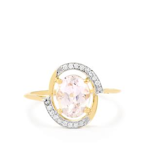 Mawi Kunzite & White Zircon 9K Gold Ring ATGW 2.41cts