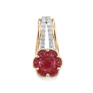 Malagasy Ruby Pendant with Diamond in 9K Gold 2.13cts (F)