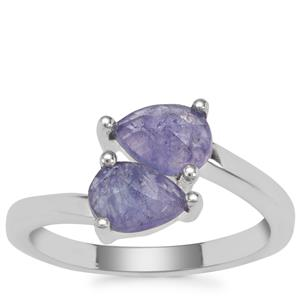 Rose Cut Tanzanite Ring in Sterling Silver 1.50cts